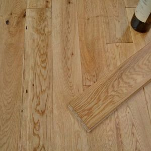 90mm x 18mm Rustic Oak Lacquered Solid Wood Flooring