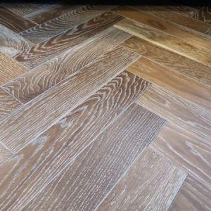 90mm x 14mm x 450mm Smoked White UV Oiled Herringbone Engineered Rustic Flooring