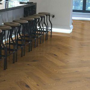 150mm Smoked Stain Oak Herringbone Engineered Rustic Click Flooring Brush & UV Oiled
