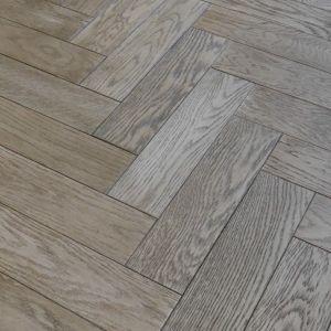 80mm x 18/3mm x 300mm Gunmetal Grey Brush & Matt Lacquered Herringbone Engineered Rustic Flooring