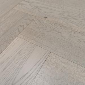 150mm x 14/3mm x 600mm Grey Herringbone Engineered Click Flooring Brush & UV Oiled