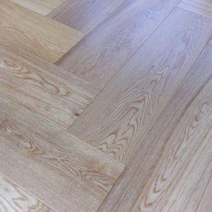 90mm x 14mm x 450mm Oak Lacquered Herringbone Engineered Rustic Flooring