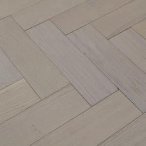 80mm x 18mm x 300mm Oak White Brush & Matt Lacquered Herringbone Engineered Rustic Flooring