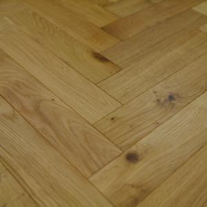 90mm x 18mm x 400mm Oak Brush & UV Oiled Herringbone Engineered Rustic Flooring
