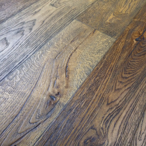 190mm x 20/6mm x 1900mm Antique Dark Brown Brushed & Distressed Engineered Oak Flooring Oiled
