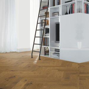 150mm x 14mm x 600mm Smoked Stain Oak Herringbone Engineered Click Flooring Brush & UV Oiled