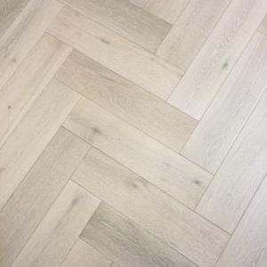 150mm x 14mm x 600mm White Washed Oak Herringbone Engineered Rustic Click Flooring Brush & Lacquered