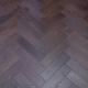 80mm x 18mm x 300mm Oak Walnut Stain Brush & Matt Lacquered Herringbone Engineered Rustic Flooring