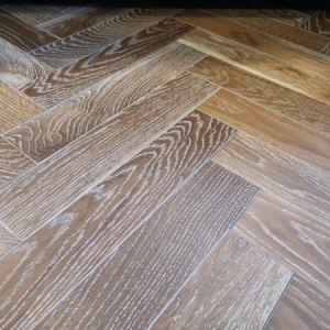 90mm x 14mm x 450mm Smoked White UV Oiled Herringbone Engineered Rustic Flooring
