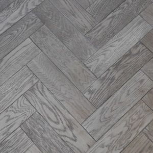 80mm x 18/3mm x 300mm Gunmetal Grey Brush & Matt Lacquered Herringbone Engineered Rustic Flooring