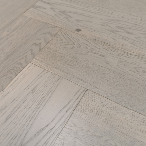 150mm x 14/3mm x 600mm Grey Herringbone Engineered Click Flooring Brush & UV Oiled