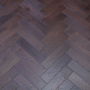 80mm x 18mm x 300mm Oak Walnut Stain Brush & Matt Lacquered Herringbone Engineered Rustic Flooring