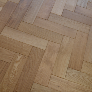 80mm x 18mm x 300mm Oak Brush & Matt Lacquered Herringbone Engineered Rustic Flooring