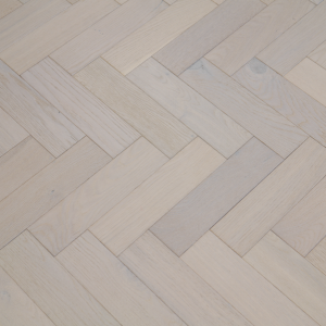 80mm x 18mm x 300mm Oak White Brush & Matt Lacquered Herringbone Engineered Rustic Flooring