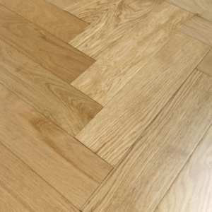 90mm x 18mm x 400mm Oak Lacquered Herringbone Engineered Rustic Flooring
