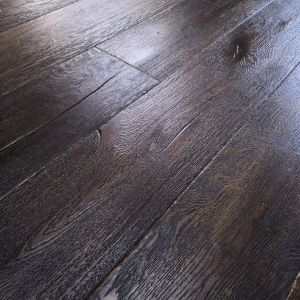 220mm x 15/4mm x 1900mm Antique Black Oiled Distressed Engineered Oak Flooring