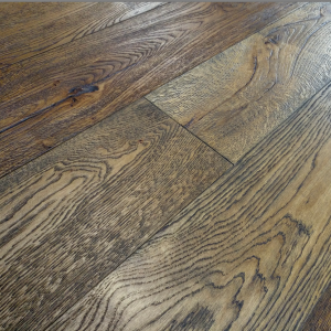 190mm x 20/6mm x 1900mm Antique Dark Brown Brushed & Distressed Engineered Oak Flooring Oiled