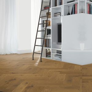 150mm x 14mm x 600mm Smoked Stain Oak Herringbone Engineered Click Flooring Brush & UV Oiled
