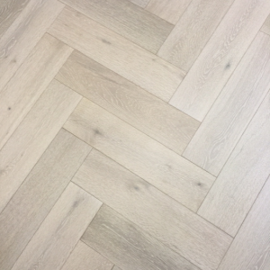 150mm x 14mm x 600mm White Washed Oak Herringbone Engineered Rustic Click Flooring Brush & Lacquered