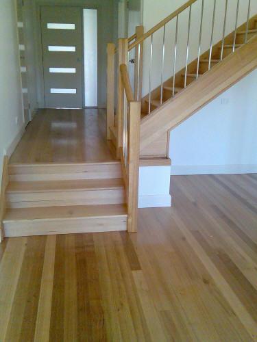 Narrow Strip Engineered Wood on Staircase